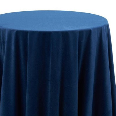 120 inch Round Marine Velvet Tablecloth picture 1