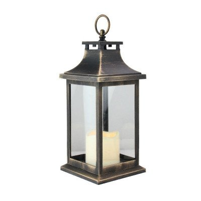 Gold Brushed Black Candle Lantern picture 1