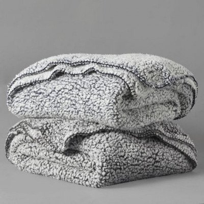 sherpa grey throw picture 1