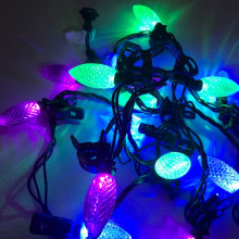 NOMA- 18' Outdoor C9 LED Quick Clip Christmas Lights- Purple- Blue- Green