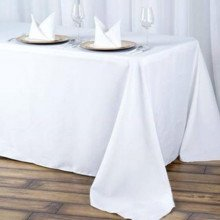 "90"" by 156"" white table cloths"