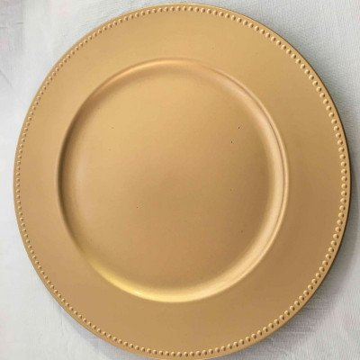 13 inch round gold beaded  acrylic charger plates-4