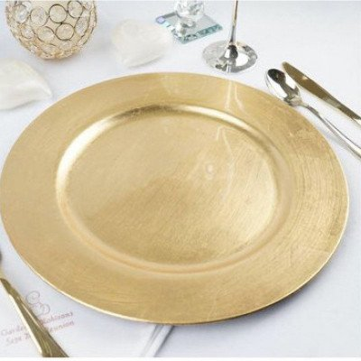 13 inch round gold beaded  acrylic charger plates