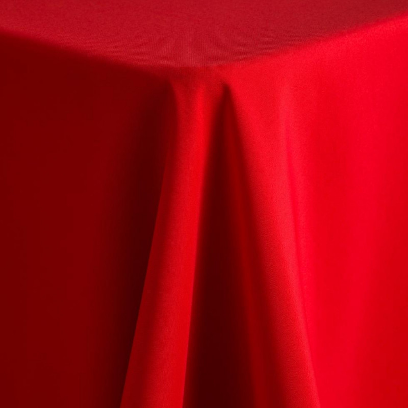 red poly tablecloth