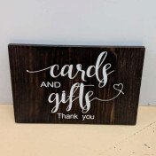 Card and gifts - wooden sign