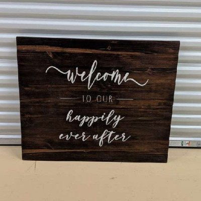Welcome to our happily ever after - wooden sign picture 1