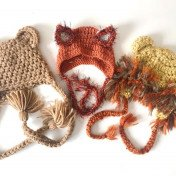 Newborn animal hat set