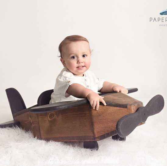 Wooden airplane photography prop