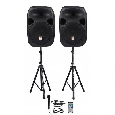 powered speakers with stands and cables