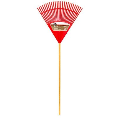 poly leaf rake with hardwood handle