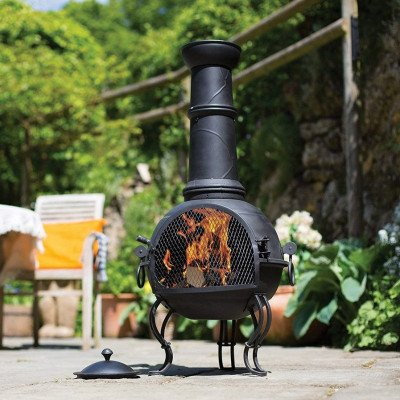 large steel chiminea fireplace