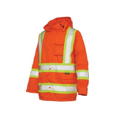 jacket with safety stripes fluorescent orange
