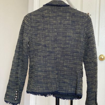 0p/xs - forest boss - green and navy tweed blazer-1