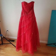 Red gown with sequin detail
