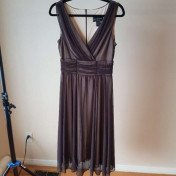 Chiffon brown midi dress