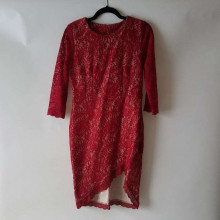 Red long sleeved lace dress