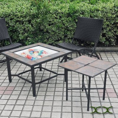 5 in 1 tile top fire pit, grill, cooler picture 2
