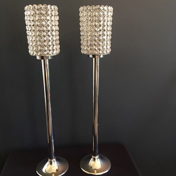 pedestal candleholders with crystals