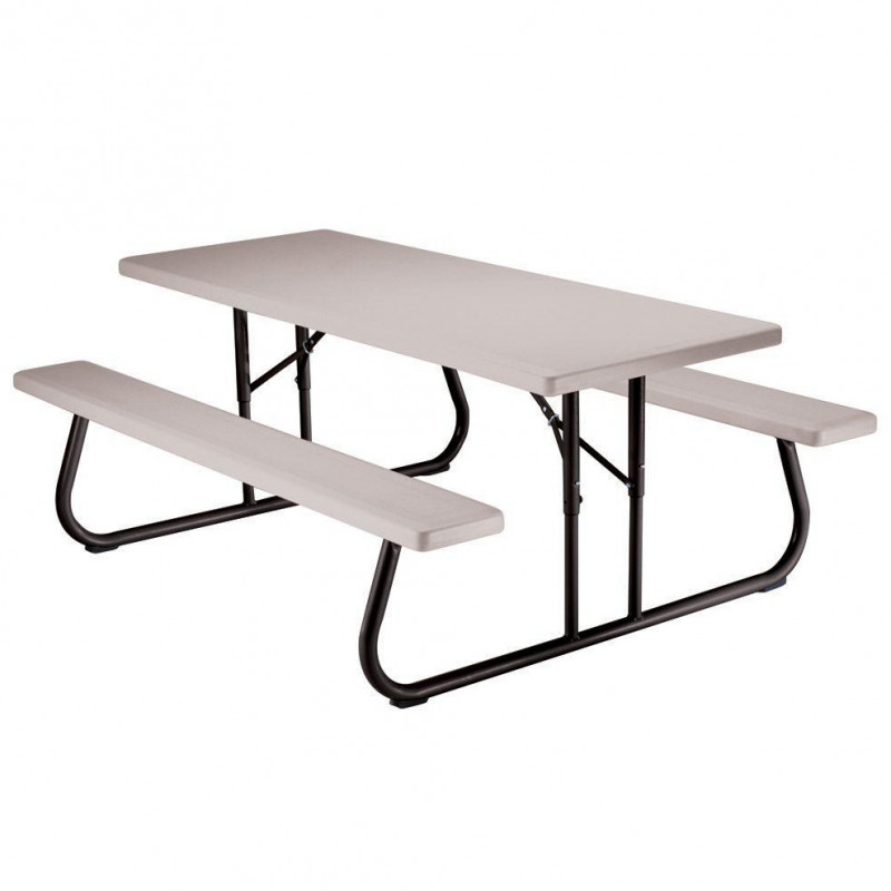 Foldable plastic picnic table