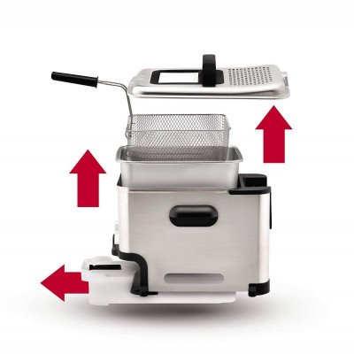 deep fryer with oil filtration and drain system-2