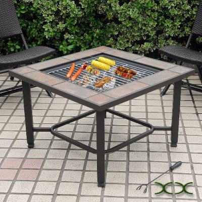 5 in 1 tile top fire pit, grill, cooler