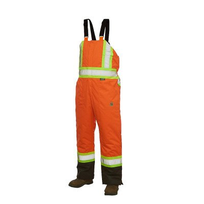 hi-vis lined bib overall with safety stripes