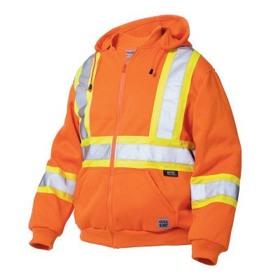 hi-vis zip front hoodie with safety stripes