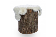 Wood Stump with Fur Throw
