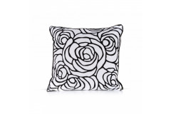 White/Black Floral Pillow