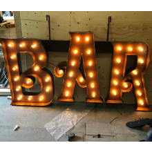 Bar sign with lights