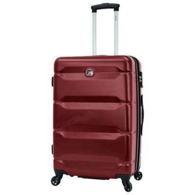 """delsey aurora 24"""" hard side expandable luggage - cherry red"""