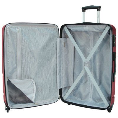 """delsey aurora 24"""" hard side expandable luggage - cherry red-1"""