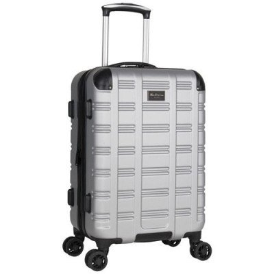 "ben sherman wells 20"" hard side expandable carry-on luggage - light silver-1"