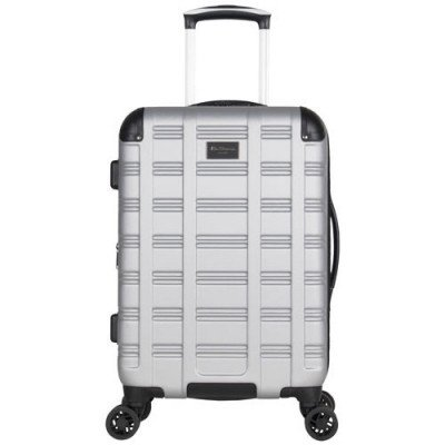 "ben sherman wells 20"" hard side expandable carry-on luggage - light silver-2"