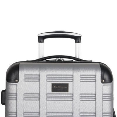"ben sherman wells 20"" hard side expandable carry-on luggage - light silver-4"