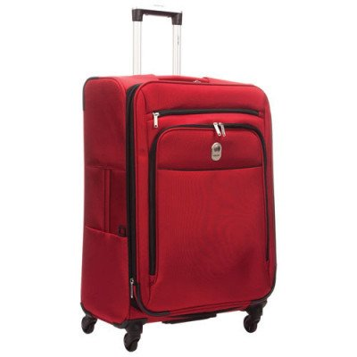 """delsey cannes 25"""" 4-wheeled expandable luggage - red"""