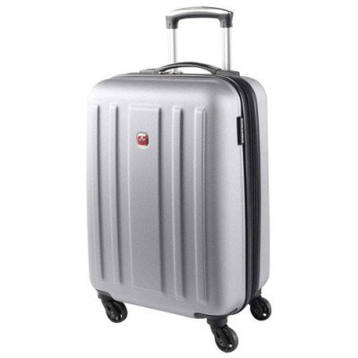 "swissgear la sarinne lite 20"" hard side 4-wheeled carry-on luggage - silver"