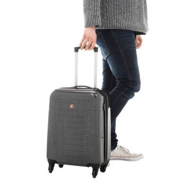 "swissgear extravagence 20"" hard side carry-on luggage - charcoal-3"