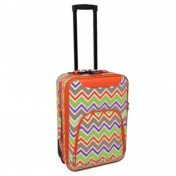 All-Seasons 816701-171 20 in. Chevron Multi-Print Rolling Carry-On Luggage Suitcase Orange