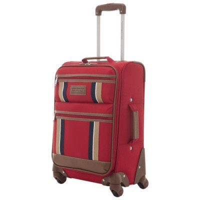 "tommy hilfiger scout 4.0 21"" soft side expandable carry-on luggage - red"