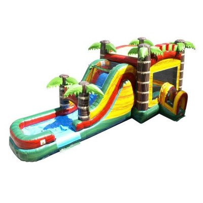 Mega Tropical Fire Marble Wet-Dry Inflatable Combo picture 1