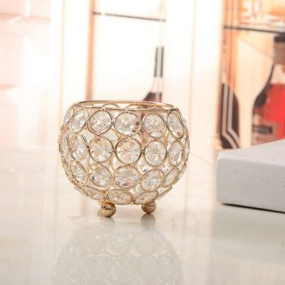 gold crystal votive candle holder picture 2