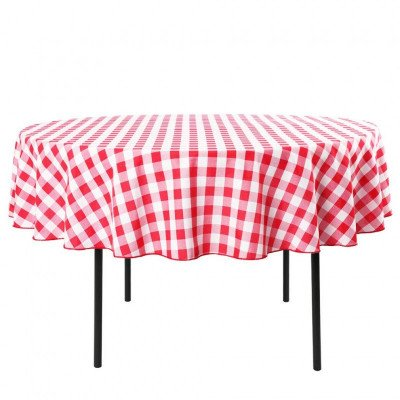Circular tablecloth - red and white checker picture 1
