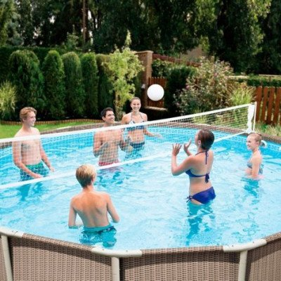 pool steel frame volleyball net-1