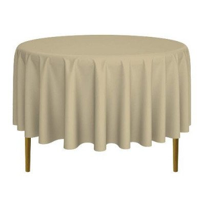 beige round tablecloth