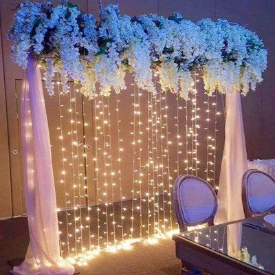 twinkle window curtain string light picture 2