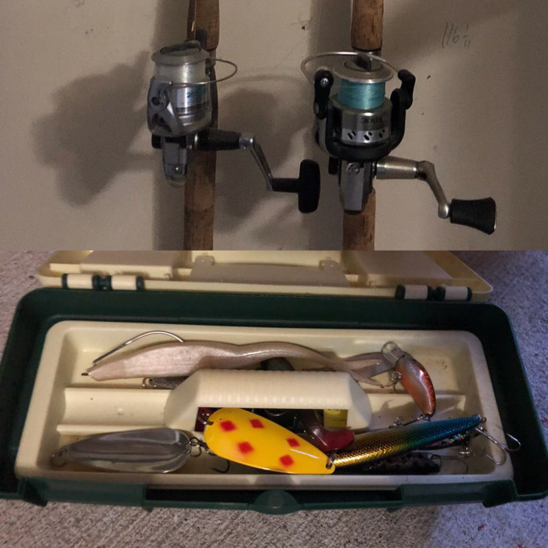 Two fishing rods and small tackle box