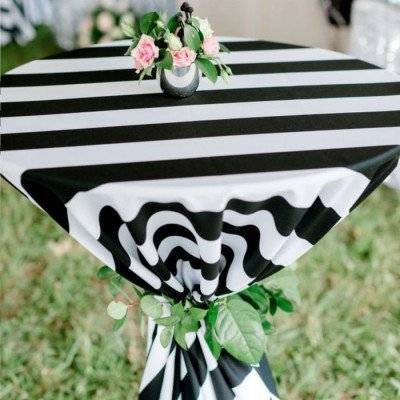 """Round Tablecloth 120"""" Cabana Black picture 2"""