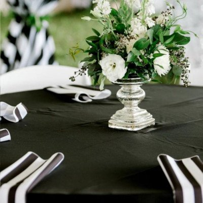 """Round Tablecloth 120"""" Cabana Black picture 3"""