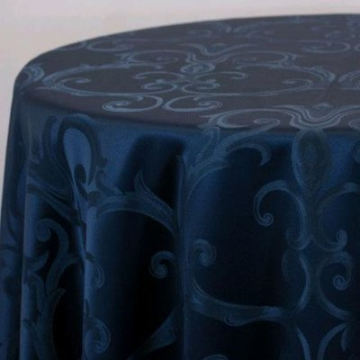 """Round Tablecloth 120"""" Chopin Navy picture 1"""